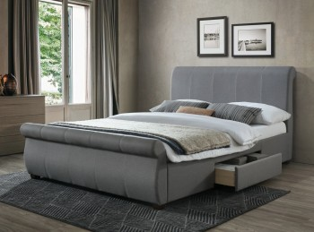 Birlea Lancaster 4ft6 Double Grey Fabric Bed Frame With Drawers