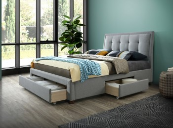 Birlea Shelby 5ft Kingsize Grey Fabric Bed Frame With Drawers