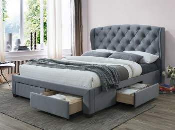 Birlea Hope 5ft Kingsize Grey Velvet Fabric Bed Frame With Drawers
