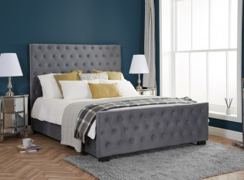 Birlea Marquis 5ft Kingsize Grey Velvet Fabric Bed Frame