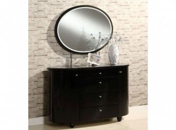 Birlea Aztec Black Gloss 4 Drawer Dresser and Mirror Set