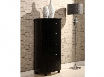 Birlea Aztec Black Gloss 5 Drawer Narrow Chest