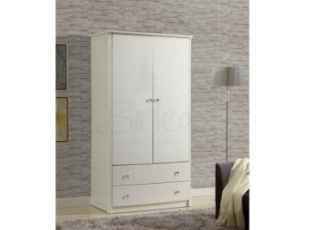 Birlea Aztec White Gloss 2 Door 2 Drawer Combination Wardrobe
