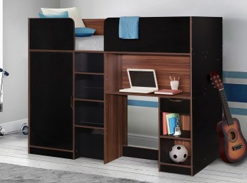 Birlea Merlin High Sleeper Bed Black And Walnut