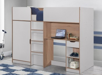 Birlea Merlin High Sleeper Bed White And Light Oak