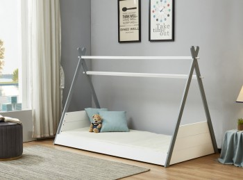 Birlea Teepee 3ft Single Grey And White Wooden Bed Frame