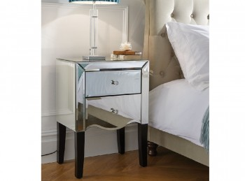 Birlea Palermo 2 Drawer Mirrored Bedside