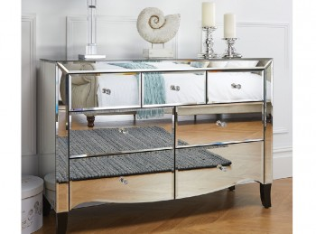 Birlea Palermo 3 Over 4 Drawer Mirrored Chest