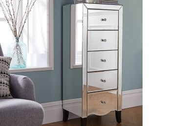 Birlea Palermo 5 Drawer Narrow Mirrored Chest