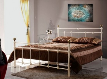 Birlea Atlas 4ft Small Double Cream Metal Bed Frame