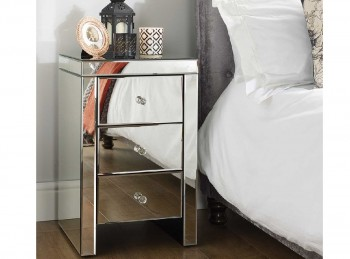 Birlea Seville 3 Drawer Mirrored Bedside