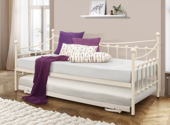 Birlea Chantelle 3ft Single Cream Metal Day Bed With Trundle
