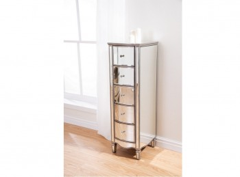Birlea Elysee 5 Drawer Narrow Mirrored Chest