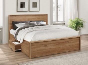 Birlea Stockwell 5ft Kingsize Oak Finish Wooden Bed Frame With Drawers
