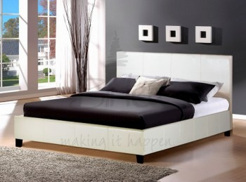 Birlea Berlin 4ft6 Double White Faux Leather Bed Frame
