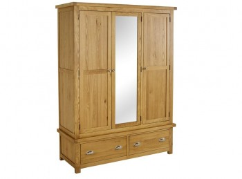 Birlea Woburn Oak 3 Door 2 Drawer Wardrobe