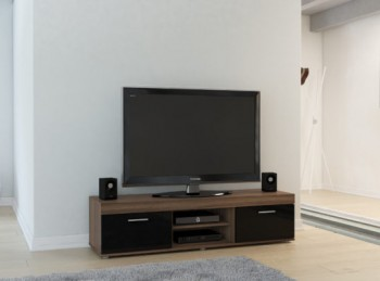 Birlea Edgeware TV Unit In Walnut And Black
