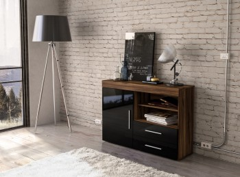 Birlea Edgeware 1 Door 2 Drawer Sideboard In Walnut And Black