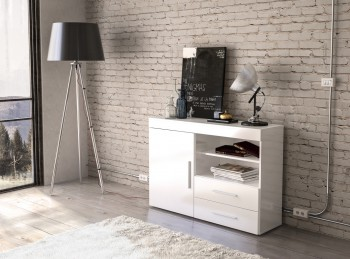 Birlea Edgeware 1 Door 2 Drawer Sideboard In White