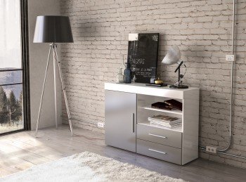 Birlea Edgeware 1 Door 2 Drawer Sideboard In White And Grey