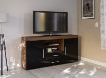 Birlea Edgeware 2 Door 2 Drawer Sideboard In Walnut And Black