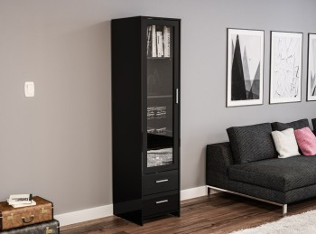 Birlea Edgeware Glass Door Cabinet In Black