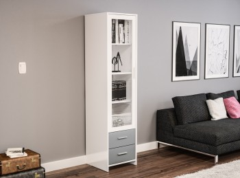 Birlea Edgeware Glass Door Cabinet In White And Grey