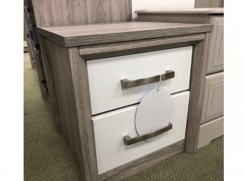 STORE CLEARANCE Kingstown Cosmos 2 Drawer Bedside In White Gloss