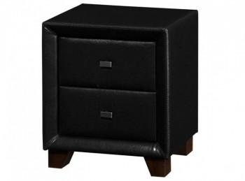 Birlea Brooklyn 2 Drawer Night Stand in Black Faux Leather