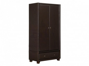 Birlea Brooklyn Brown 2 Door 1 Drawer Combination Wardrobe in Brown Faux Leather