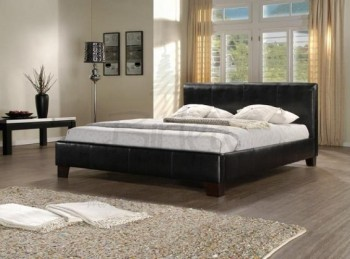 Birlea Brooklyn Black 5ft Kingsize Faux Leather Bed Frame