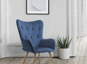 Birlea Willow Armchair In Midnight Blue Fabric