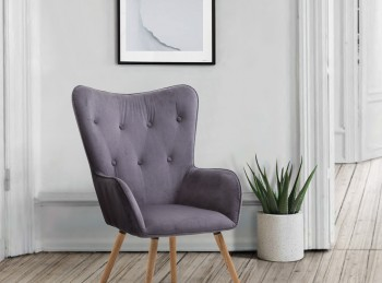 Birlea Willow Armchair In Grey Velvet Fabric