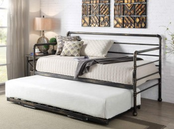 Sleep Design Banbury 3ft Single Bronze Finish Metal Day Bed Frame And Trundle