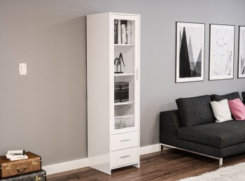 Birlea Edgeware Glass Door Cabinet In White