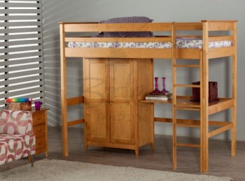 Birlea Cotswold Pine High Sleeper With Wardrobe