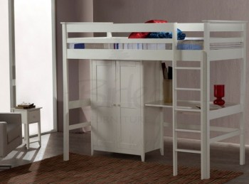 Birlea Cotswold Ivory High Sleeper With Wardrobe