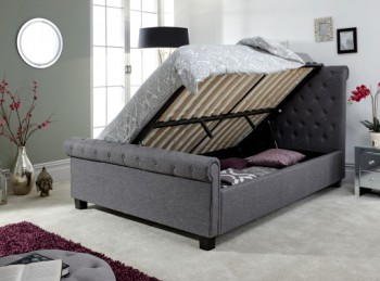 GFW Layla 4ft6 Double Charcoal Grey Fabric Ottoman Bed Frame
