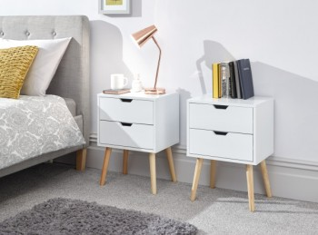 GFW Pair Of Nyborg Bedsides In White