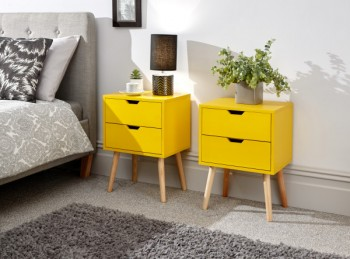 GFW Pair Of Nyborg Bedsides In Yellow