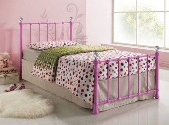 Birlea Jessica 3ft Single Pink Metal Bed Frame with Crystal Finials