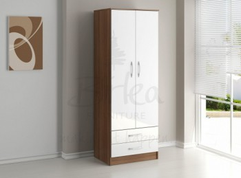 Birlea Lynx Walnut with White Gloss 2 Door Combi Robe