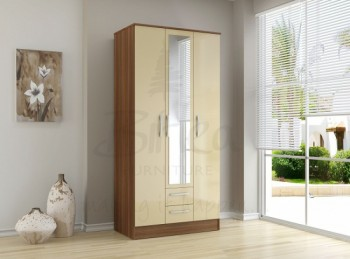 Birlea Lynx Walnut with Cream Gloss 3 Door 2 Drawer Wardrobe with Center Mirror