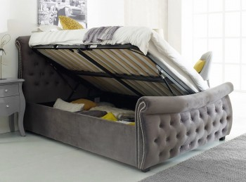 Flair Furnishings Lucinda 4ft6 Double Silver Fabric Ottoman Bed Frame