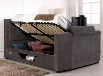 Flair Furnishings Juliet 4ft6 Double Ottoman TV Bed In Silver Fabric