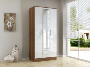 Birlea Lynx Walnut with White Gloss 3 Door 2 Drawer Wardrobe with Center Mirror