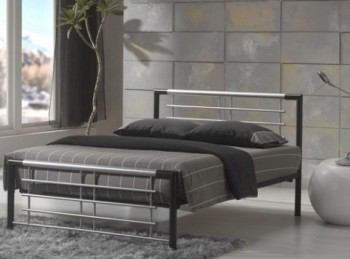 Metal Beds Atlanta 4ft6 Double Silver and Black Metal Bed Frame