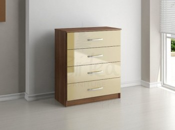 Birlea Lynx Walnut with Cream Gloss 4 Drawer Chest of Drawers