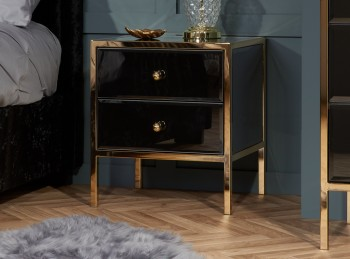 Birlea Fenwick 2 Drawer Black Glass And Gold Bedside