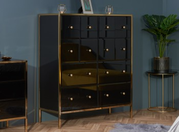Birlea Fenwick 12 Drawer Black Glass And Gold Merchant Chest